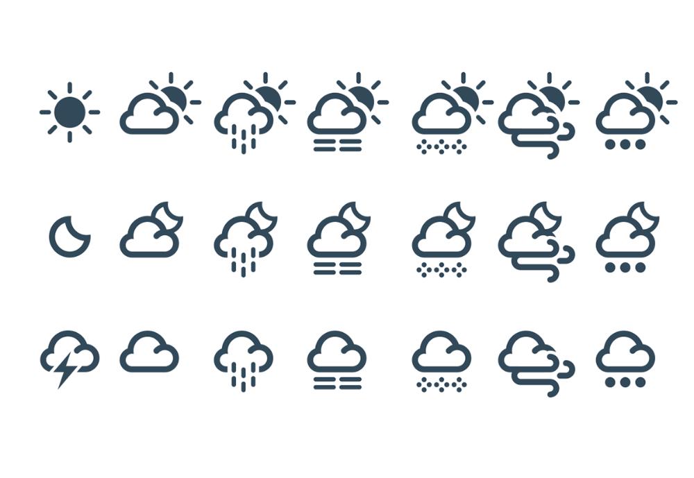 weather, forecast, cloud, sky, climate, symbol, set