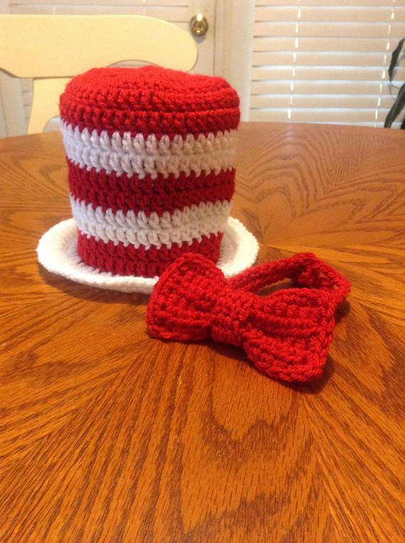 Crochet Dr. Seuss Cat In The Hat Hat and Bow Tie Photography Prop ...