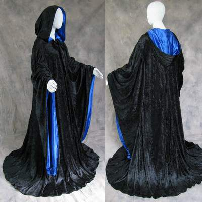 Velvet Robe Hooded Wizard Medieval Renaissance Halloween Cloak Line With Sleeves