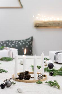 Adventskranz Aus Stickrahmen Selber Basteln DIY Skadinavisch Minimalistisch  Weihnachtsdekoration