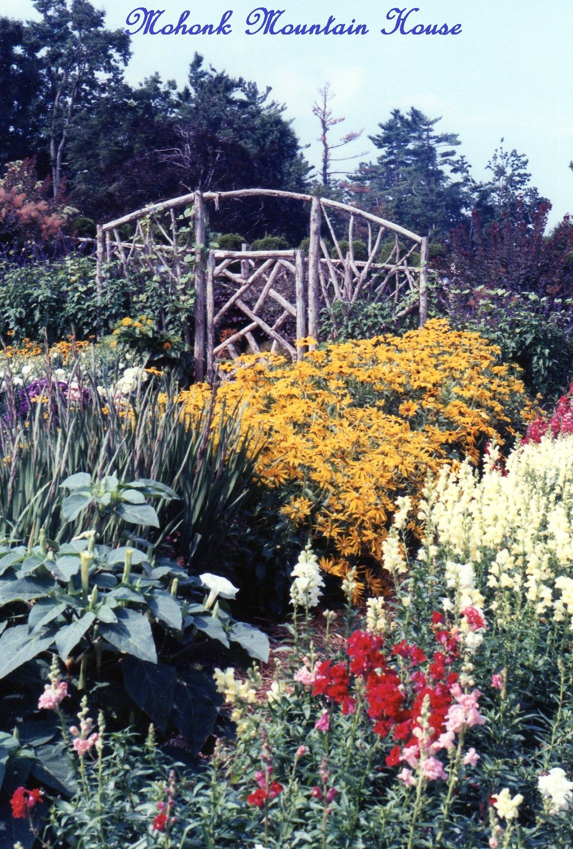 Garden with fencing made of trimmed branches mohonk