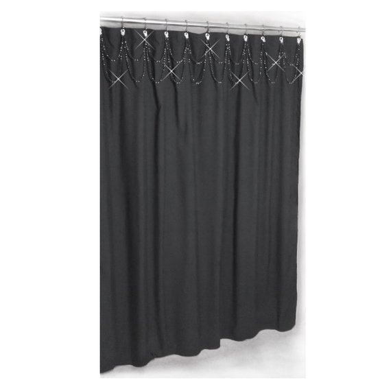 Double SwagShower Curtain Bling Crystal And Black Or Custom