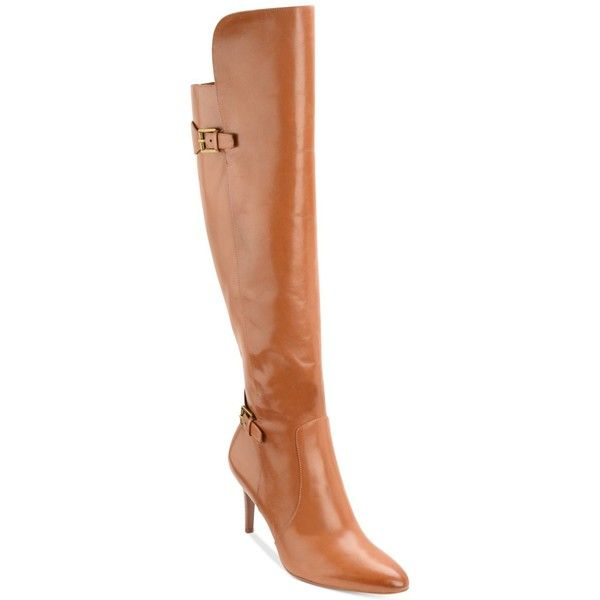 Lauren Ralph Lauren Philena Over-The-Knee Boots ($249) ❤ liked on Polyvore featuring shoes, boots, polo tan, over the knee dress boots, over-knee boots, high heel dress boots, thigh boots and over the knee boots