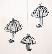 Suncatcher Stained Glass 3 pcs set Umbrellas Home decor Tiffany style Glass art