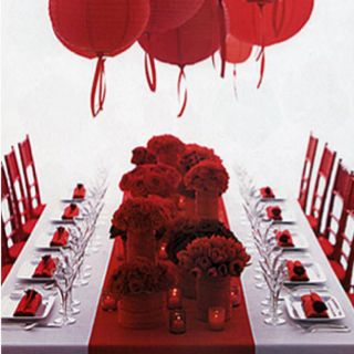ruby red table runner idea for mom dads 40th anniversary party