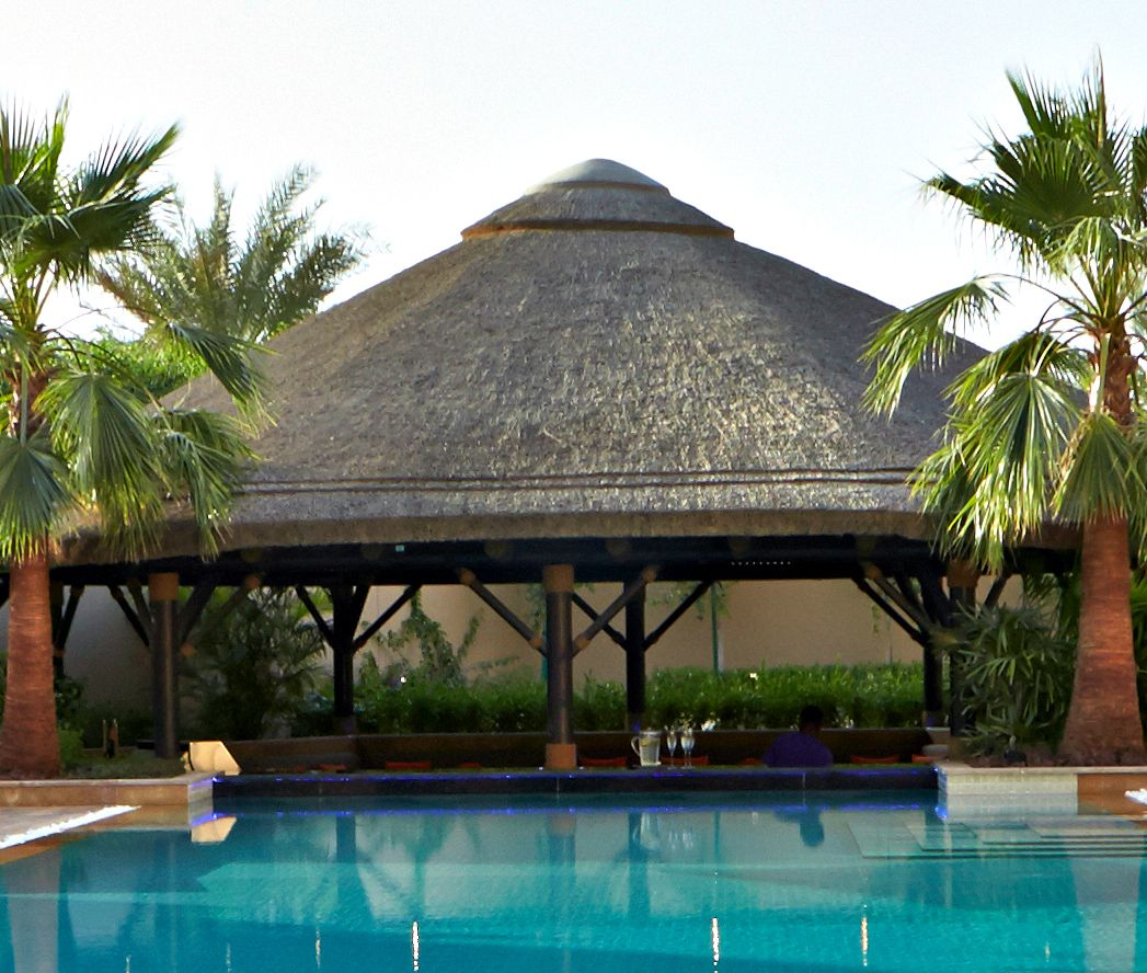 Outdoor Kitchen With Thatched Gazebo Outdoor In 2019: Thatched Gazebo With Swimup Poolbar #Outdoor