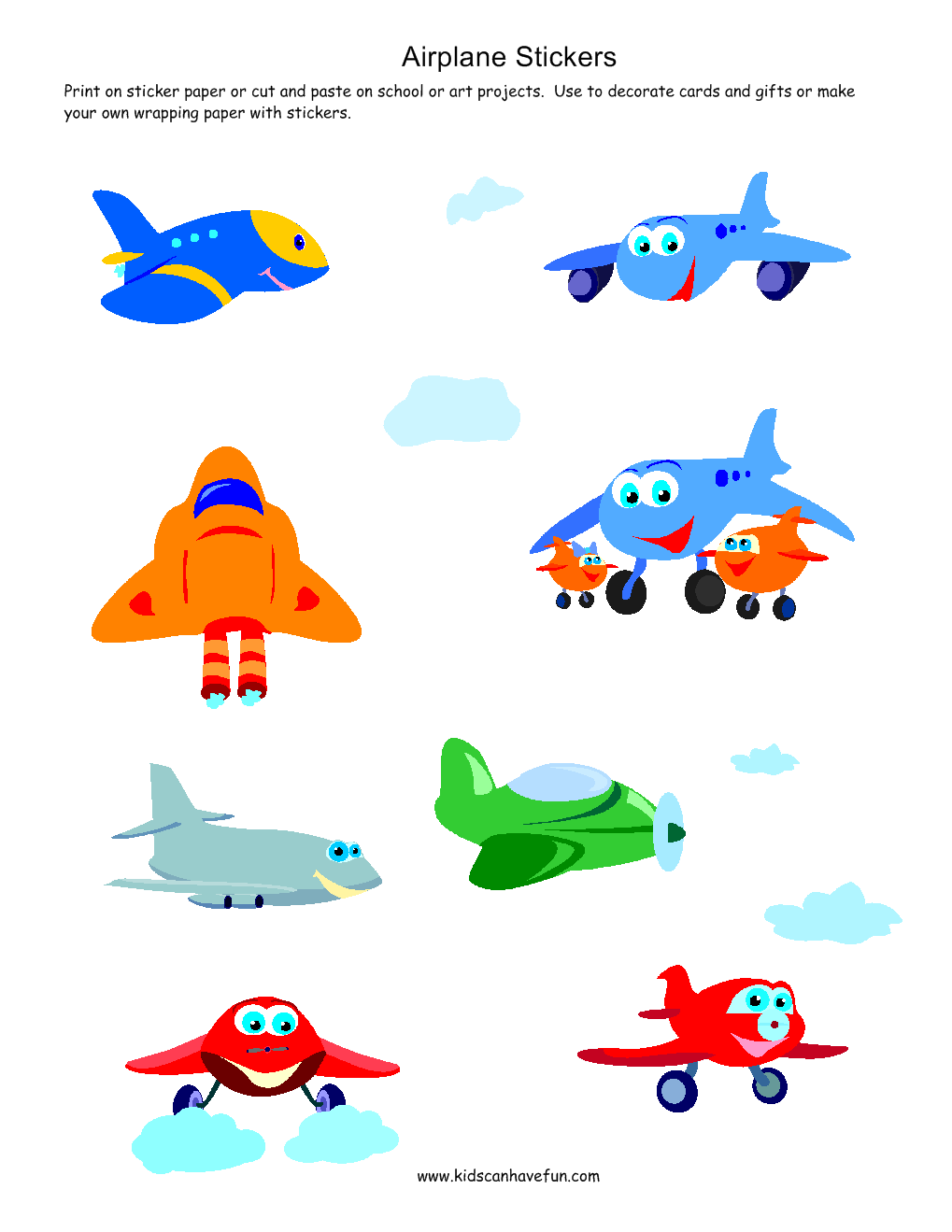 Airplane Stickers Printable Stickers Printable Sticker Sheets