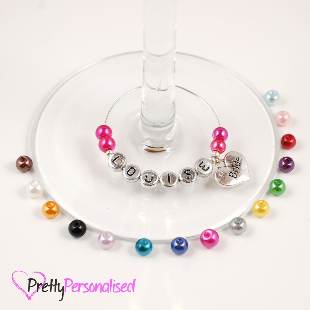 Personalised Wine Glass Charms - Parties, Weddings Favours, Hen ...