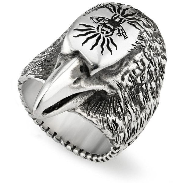 Gucci Small Anger Forest Eagle Head Ring 350 liked on Polyvore