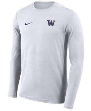 Nike Men's Washington Huskies Long Sleeve Dri Fit Coaches T