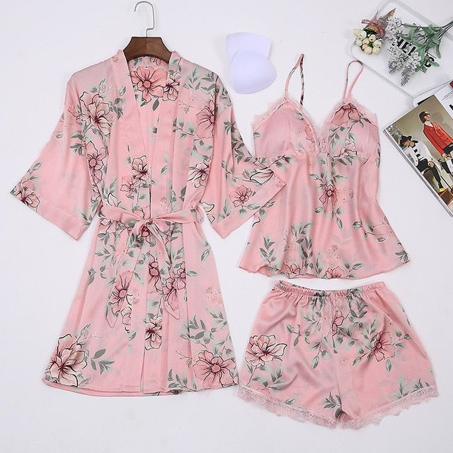 3703c4b79366 Satin Pijamas Floral Faux Silk Pajamas Robe 3PC Suit with Chest Pads  Lingerie Shorts Pants Sexy Sleepwear Female Home Clothing Review