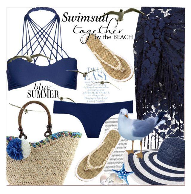"""blue summer ...swimsuit..."" by nihal-imsk-cam on Polyvore featuring moda, H&M, Monsoon, Vera Bradley, Mikoh ve Victoria's Secret"