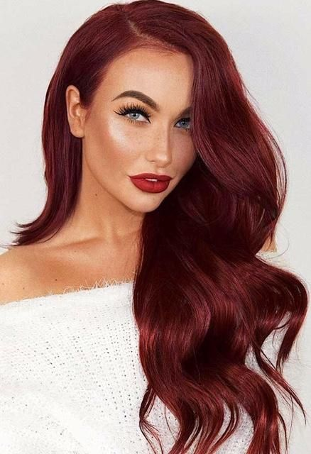 Stella Human Hair Wig In 2019 Red Hair Color Burgundy