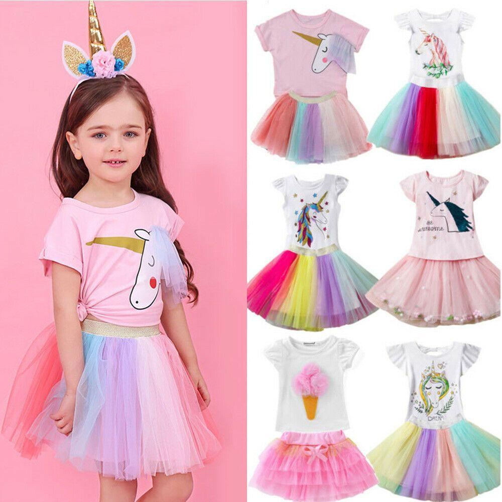 Kids Toddler Girls Unicorn Top Tutu Dress Skirt Clothes Children Birthday Outfit