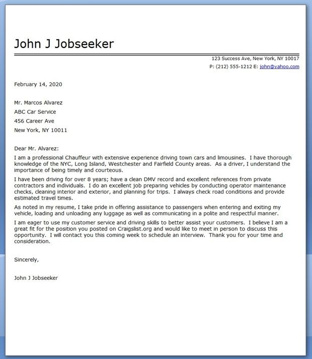 Chauffeur Cover Letter Sample | Creative Resume Design Templates ...