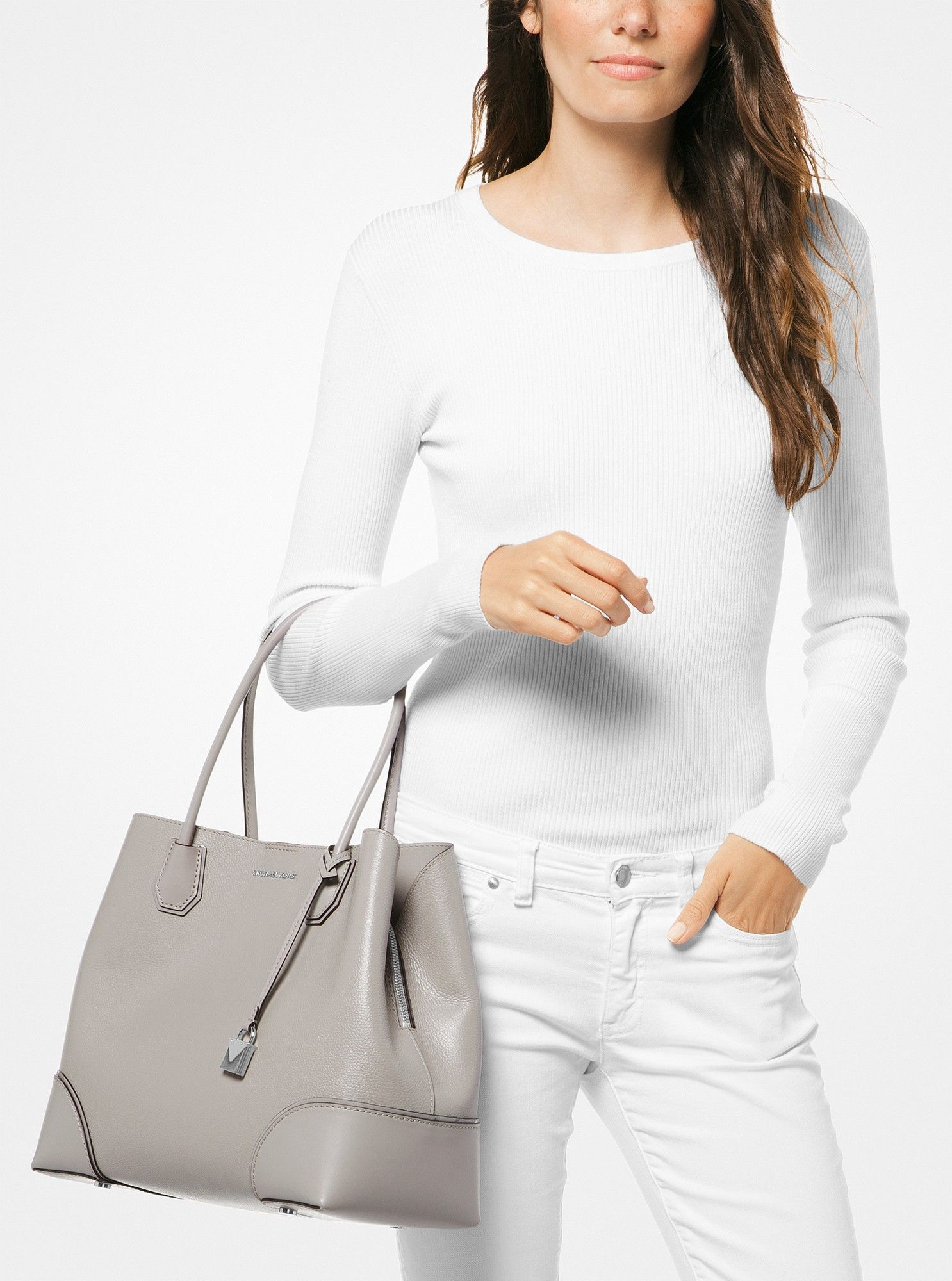 7065f9dcca11 Michael Kors Mercer Gallery Large Pebbled Leather Satchel - Pearl Grey