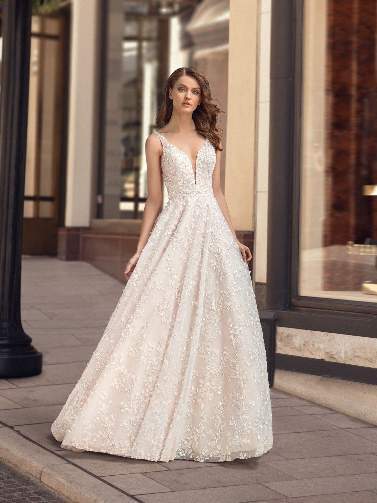 Sparkly Beaded A Line Beaded Ball Gown Style H1445 In 2020 Wedding Dresses Wedding Dress Necklines Bridal Ball Gown