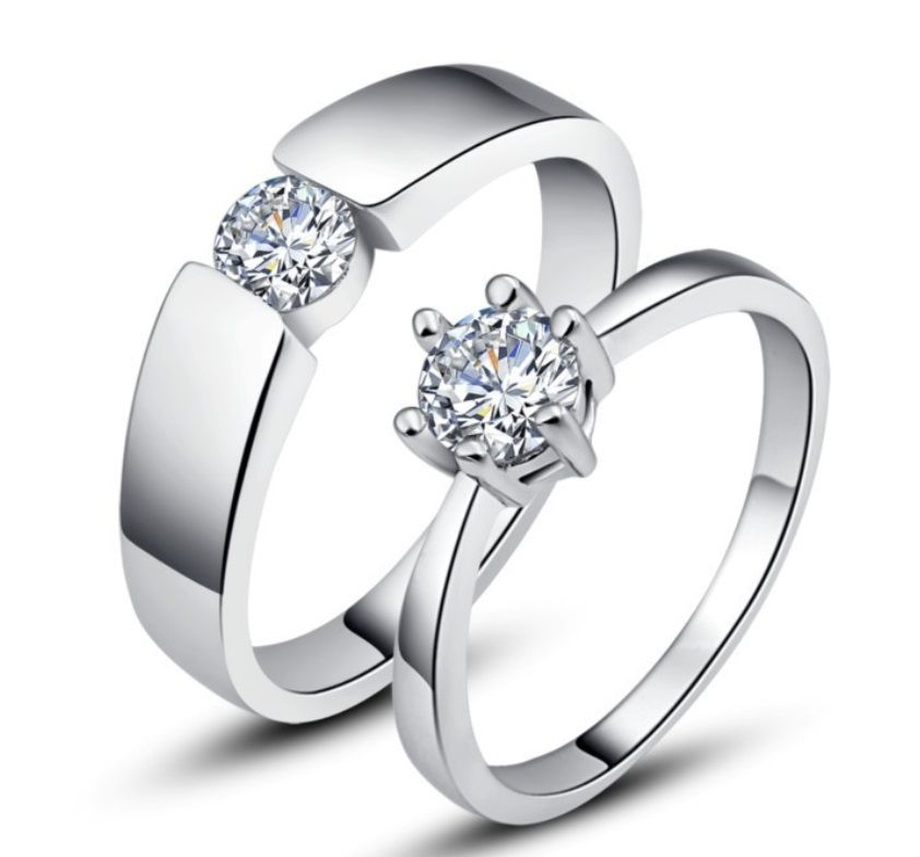 Couple Engagement Ring MenS Rhinestones Wedding Rings Love Design