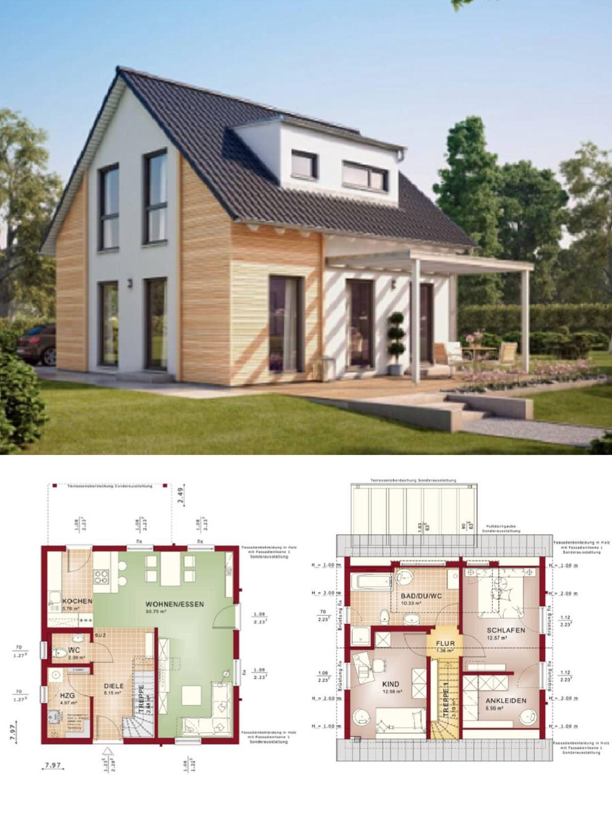 Fertighaus Mit Satteldach Architektur Holzfassade Grundriss Einfamilienhaus Solution 106 V3 Living Haus Ideen