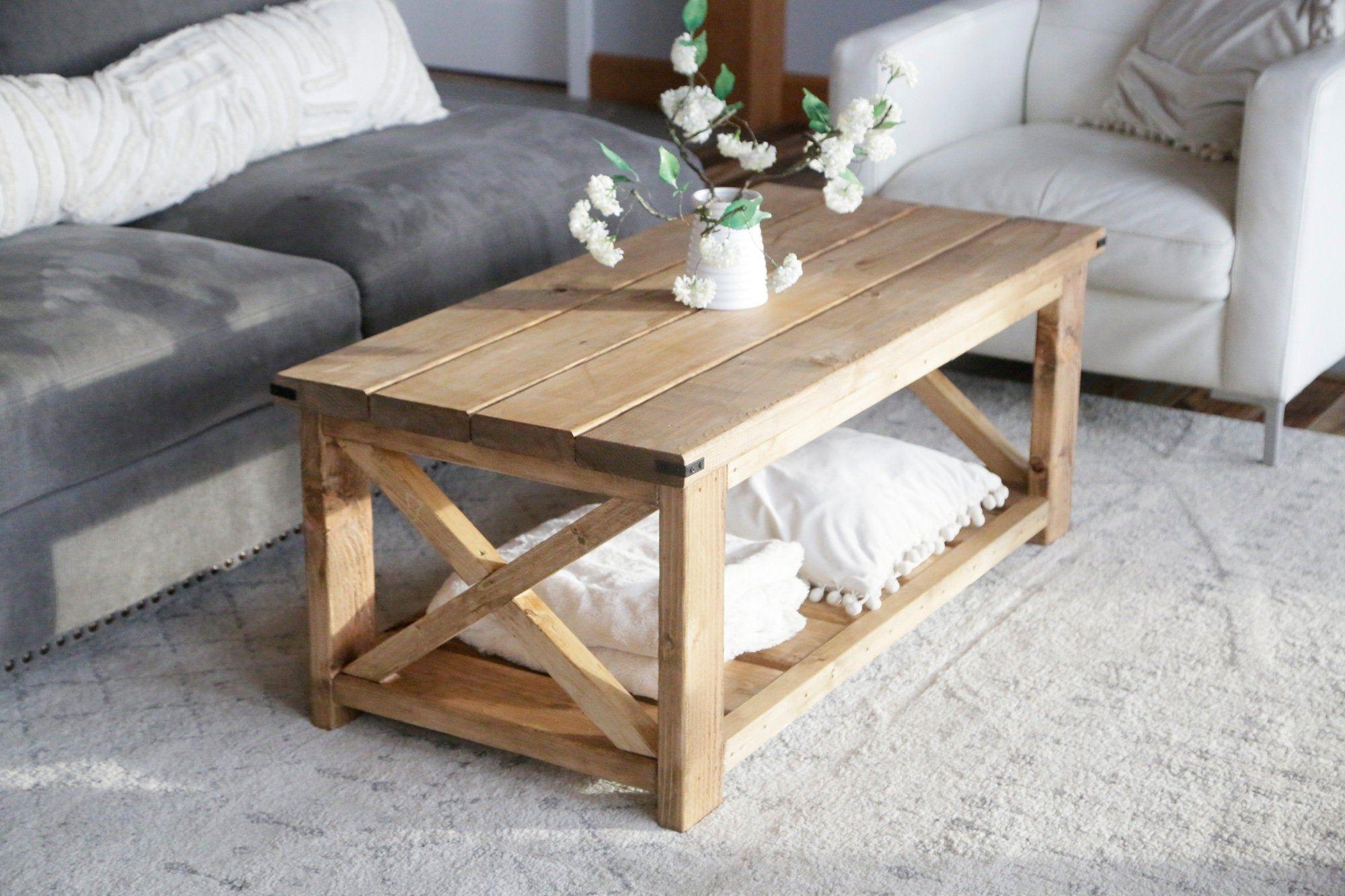 Rustic Farmhouse Coffee Table X Legs In 2020 Coffee Table Plans Diy Furniture Plans Farmhouse Furniture