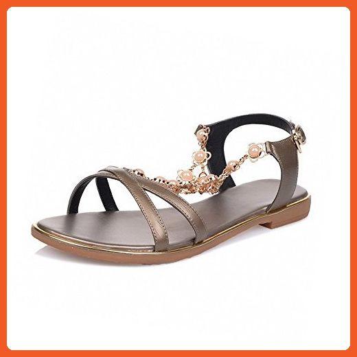 b522b42d4 VogueZone009 Women s Open Toe Low-heels Soft Material Solid Buckle Sandals
