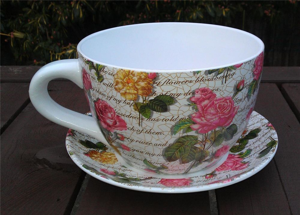 Giant Pink Rose Design Tea Cup And Saucer Planter Photo Props