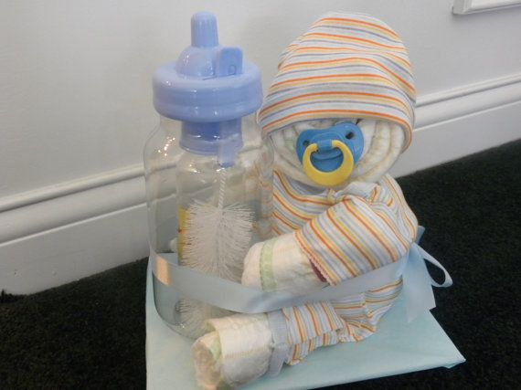 Baby Diaper Cake with Bottle by Rondasbabygifts on Etsy, $22.50