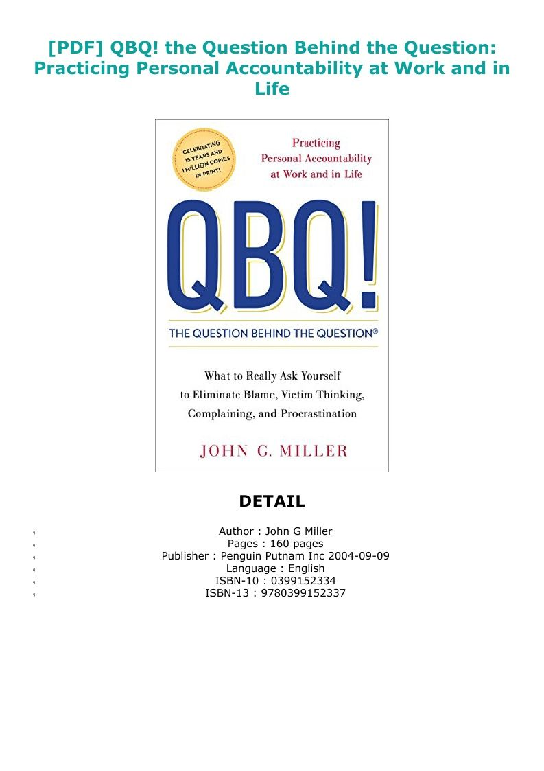 Pdf Download Qbq The Question Behind The Question Practicing