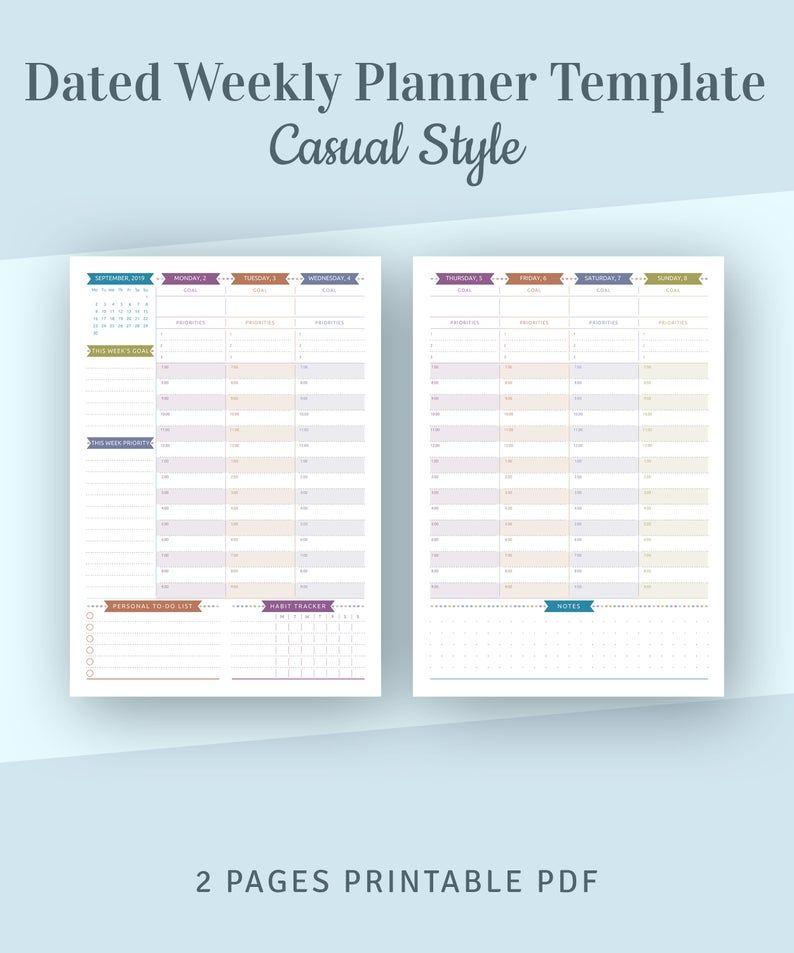 Dated Weekly Planner 2021 Printable Weekly Agenda Template Etsy In 2021 Weekly Planner Template Undated Weekly Planner Weekly Planner Printable Templates