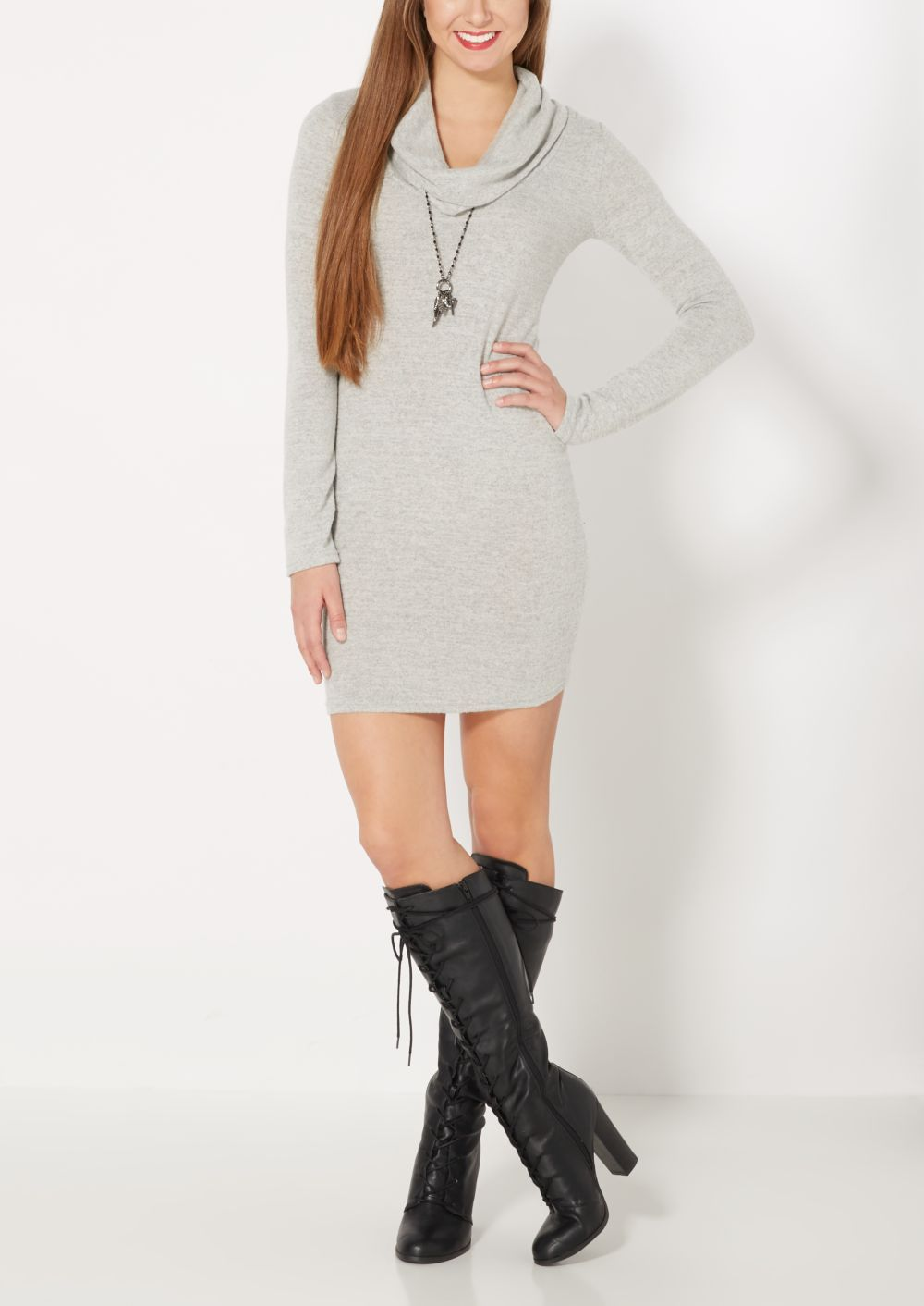 Heather Gray Cowl Neck Sweater Dress | Mini Dresses | rue21 ...