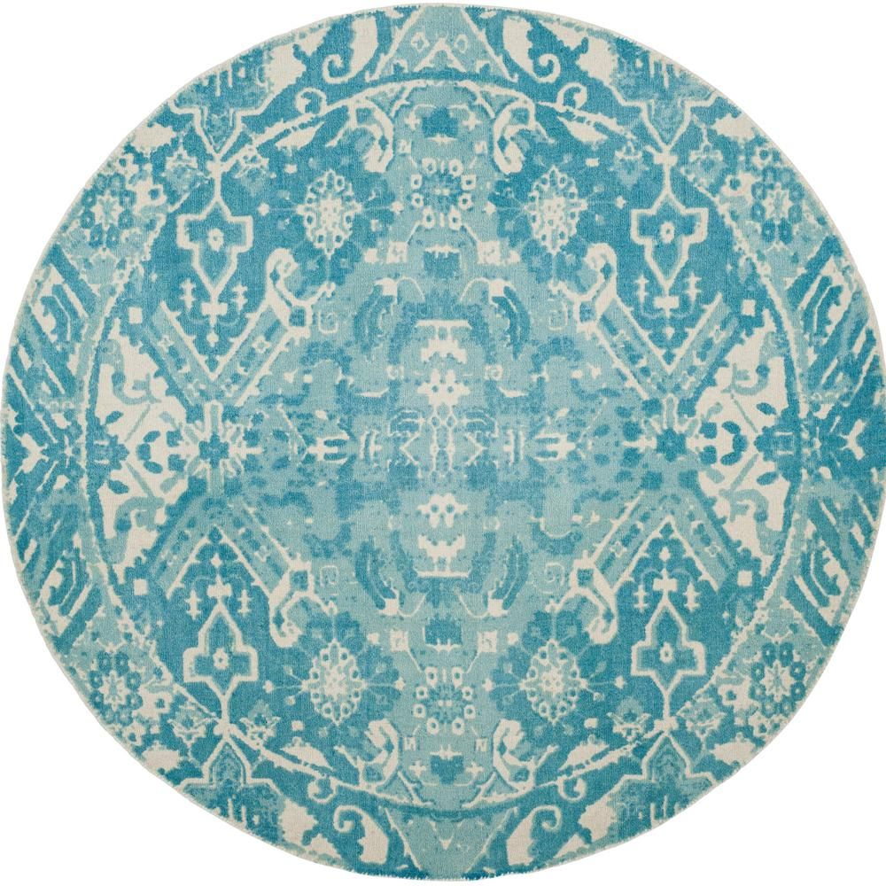 Safavieh Restoration Vintage Light Blue Ivory 6 Ft X 6 Ft Round