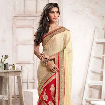 Beige and Red Viscose Chiffon and Net Saree with Blouse