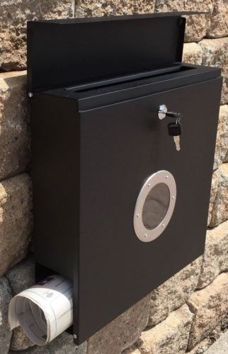 Mailbox-Black-Painted-Box-Modern-Lockable-Secure-Wall-Mount-Modern-Urban-Style