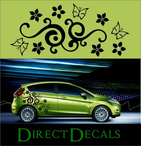 Flower Floral Swirl Butterfly Car Vinyl Decal Car By Directdecals - Flower custom vinyl decals for car