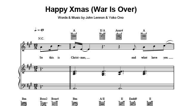 Happy Xmas War Is Over Sheet Music John Lennon Sheet Music Happy Xmas Music