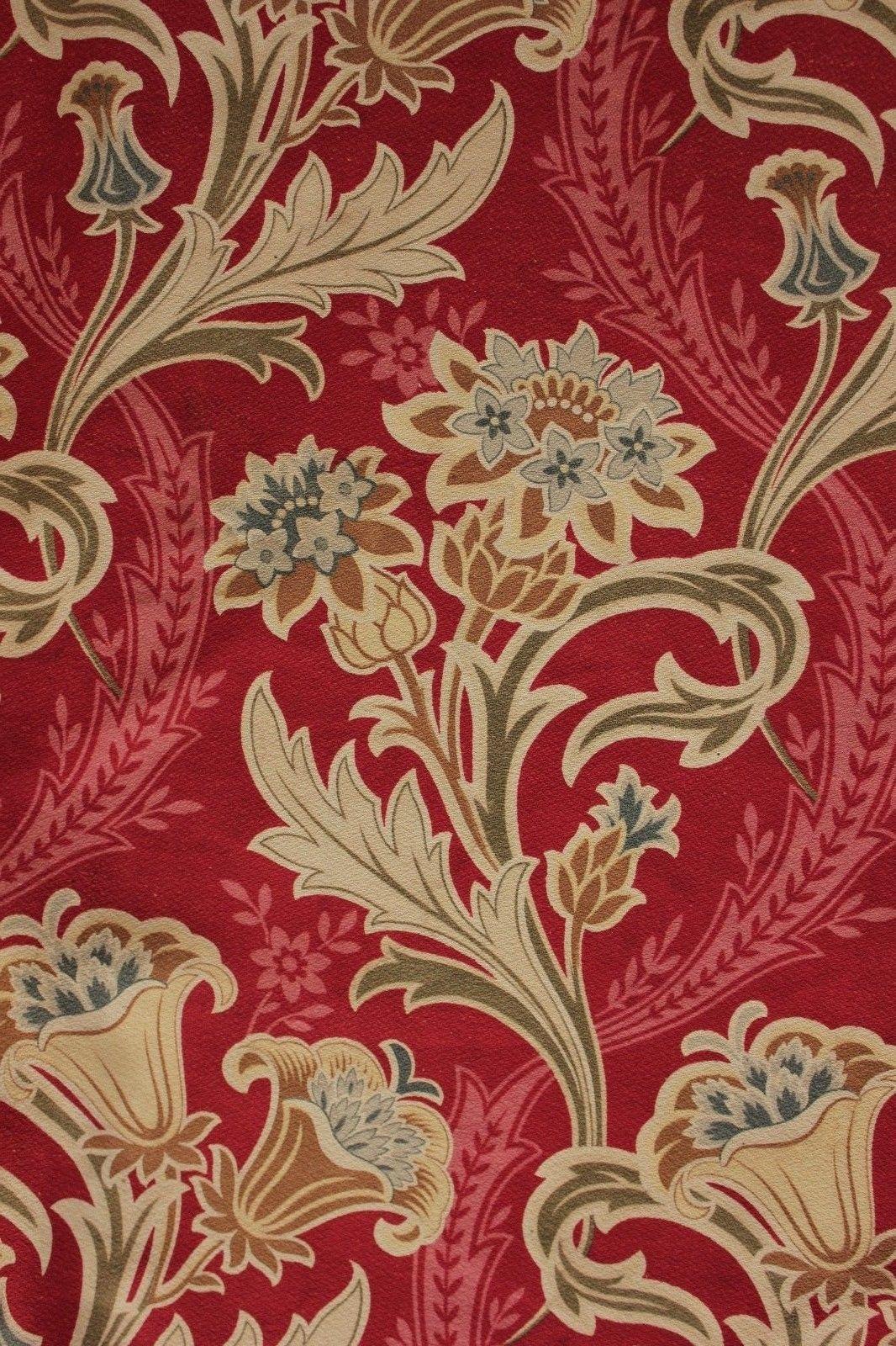 Antique French Art Nouveau Red Printed Cotton Cretonne ...