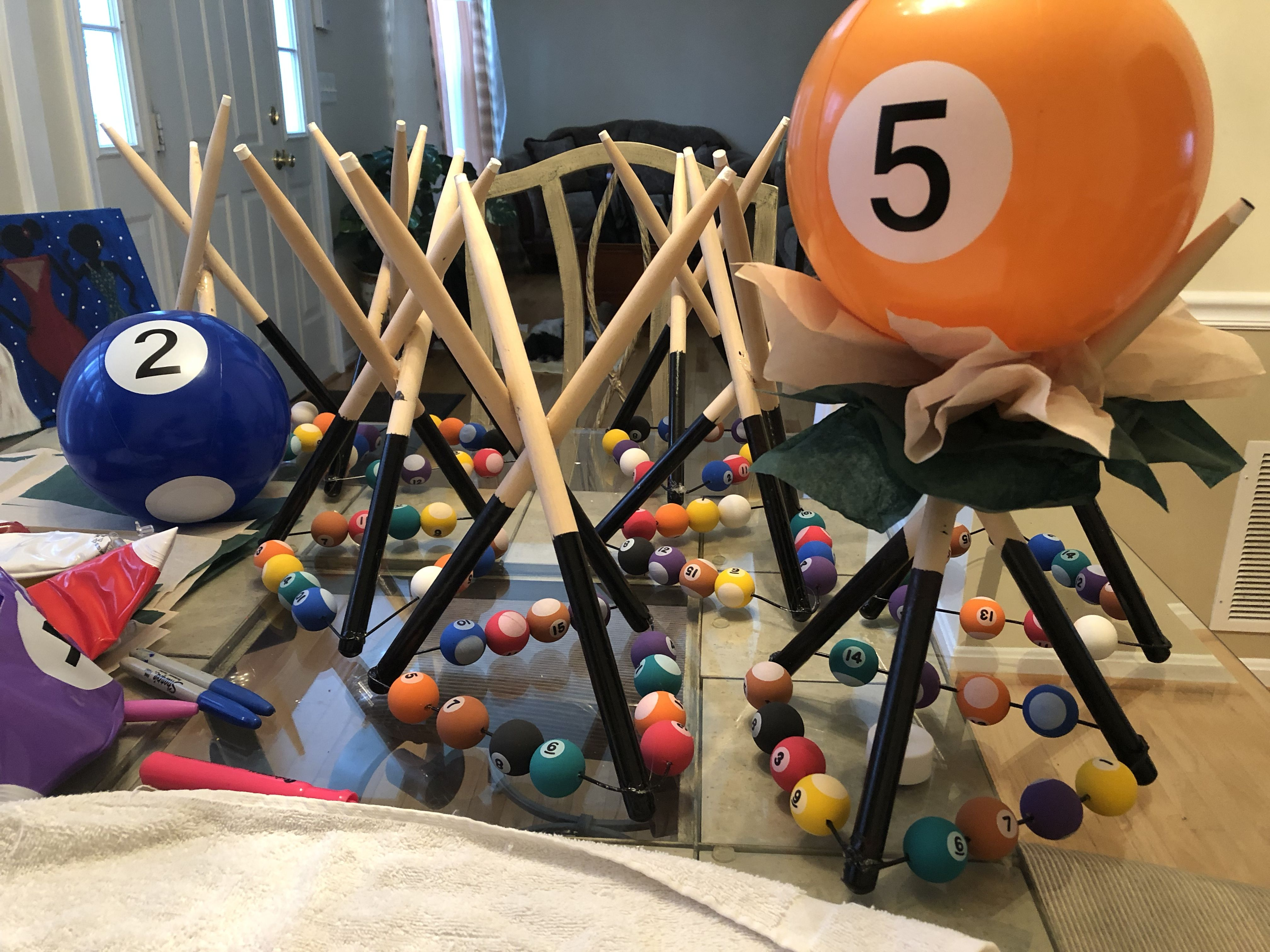 Created These Billiard Themed Party Table Centerpieces By Using