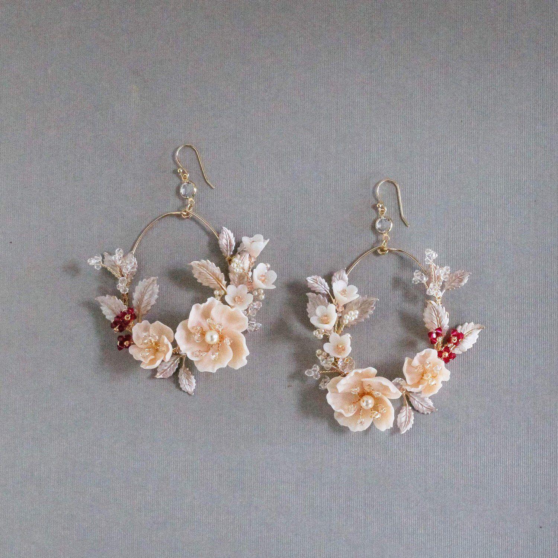 dangle drop hook earrings flower floral earrings pink crystal earrings Round glass disc earrings bridal earrings