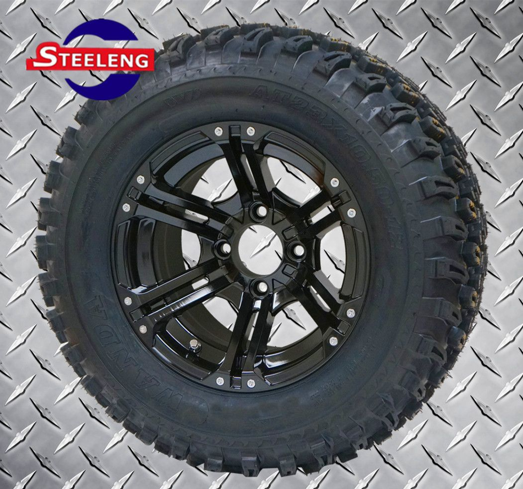 12 X7 Black Terminator Wheels And 23 X10 5 12 All Terrain Tires Set Of 4 All Terrain Tyres Aluminum Wheels Golf Carts