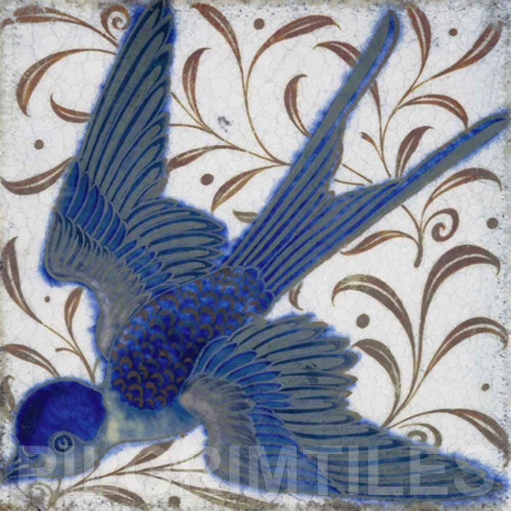 William De Morgan Swallow Ceramic Tile Fireplace Kitchen Bathroom Splashback #Pilgrim