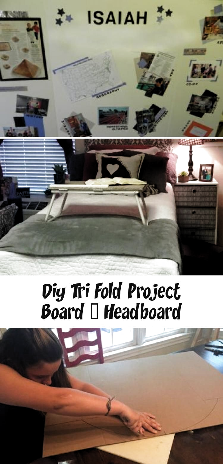 Tri-fold project board - headboard.  This inexpensive diy project is great way to reuse or upcycle old science boards.  Its prefect way to spruce up a college dorm room, first time home or apartment, or a kids room.  Home décor doesnt have to be expensive.  Budget home décor with no sewing skills needed. #HomeDecorDIYRecycle