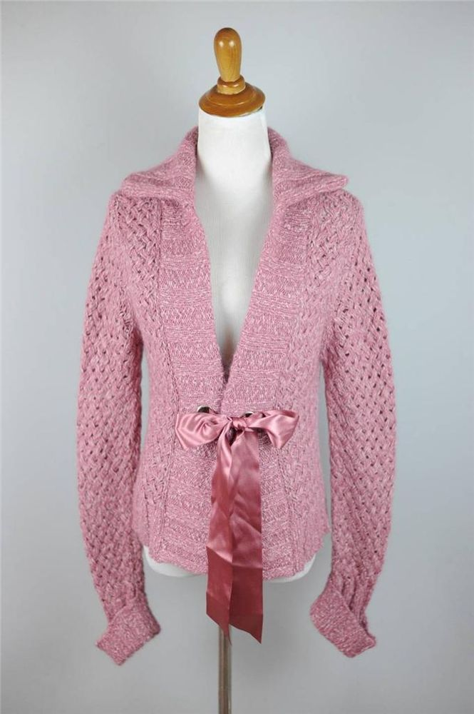 SOFT SURROUNDINGS [G87]   XS   Pink Chunky Cardigan   Ribbon Tie ...