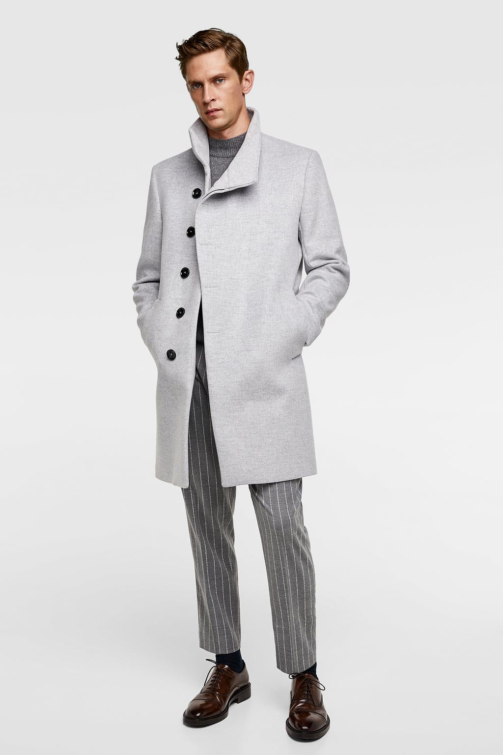b88744f6d0 Asymmetrical collar coat in 2019 | Men's Fashion | Coat, Check coat ...