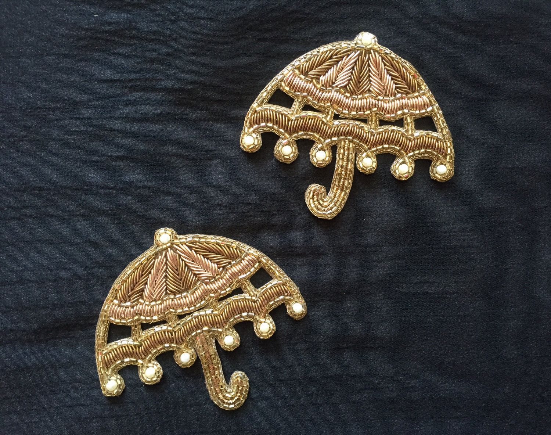 Regal umbrella indian embroidery applique handmade golden zari