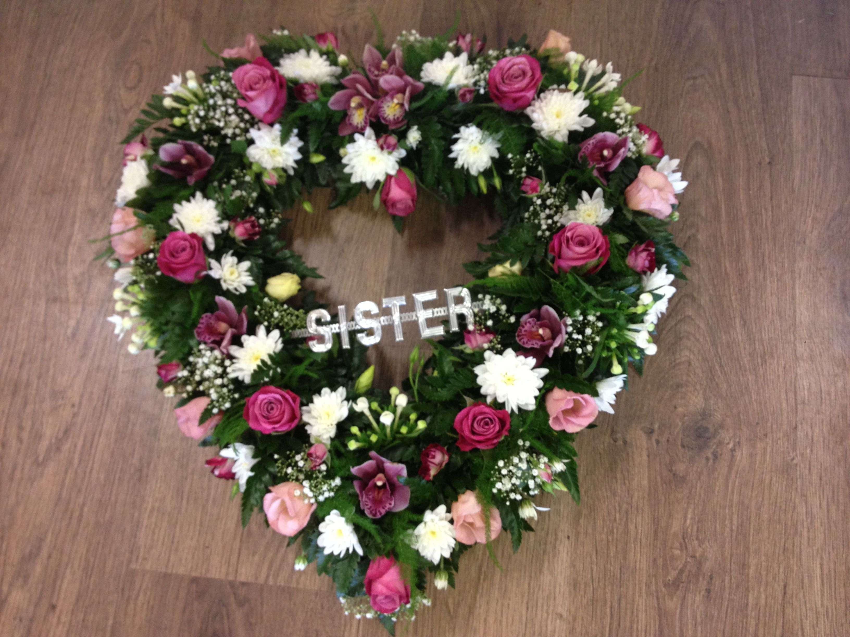 Heart shaped wreath pinterest sympathy flowers and heart shaped wreath izmirmasajfo