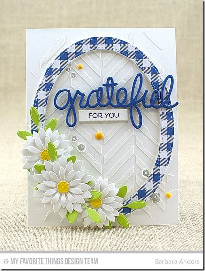 Upsy Daisy Die-namics, Bold Greenery, Stitched Oval Frames Die-namics, Words of Gratitude Die-namics, On the Diagonal Stencil - Barbara Anders  #mftstamps