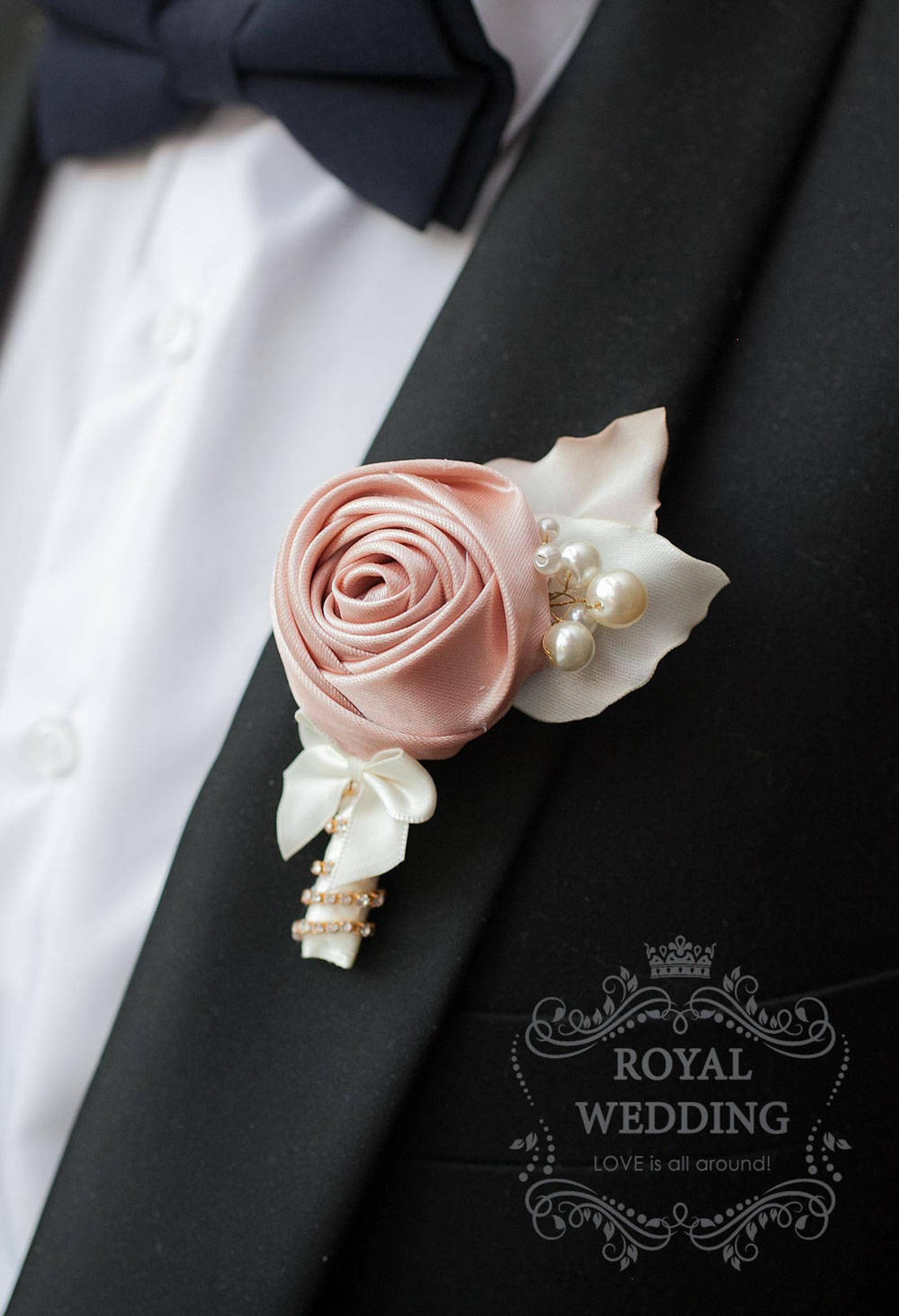 Wedding Boutonniere Grooms Pin Wedding pin Champagne Ivory ...