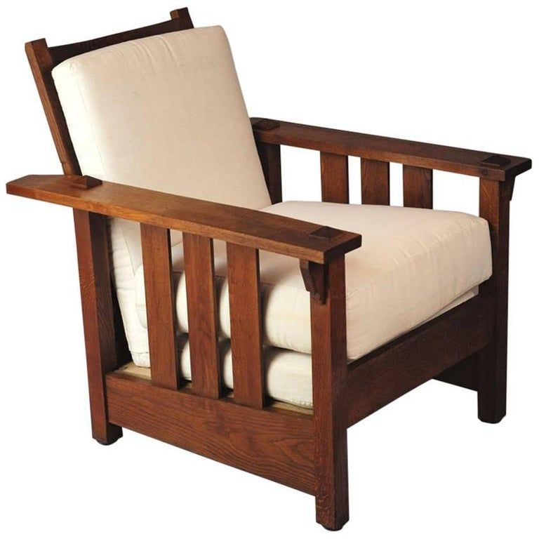 American Craft Furniture In Ontario: Gustav Stickley Oak Reclining 1900S Arts And Crafts