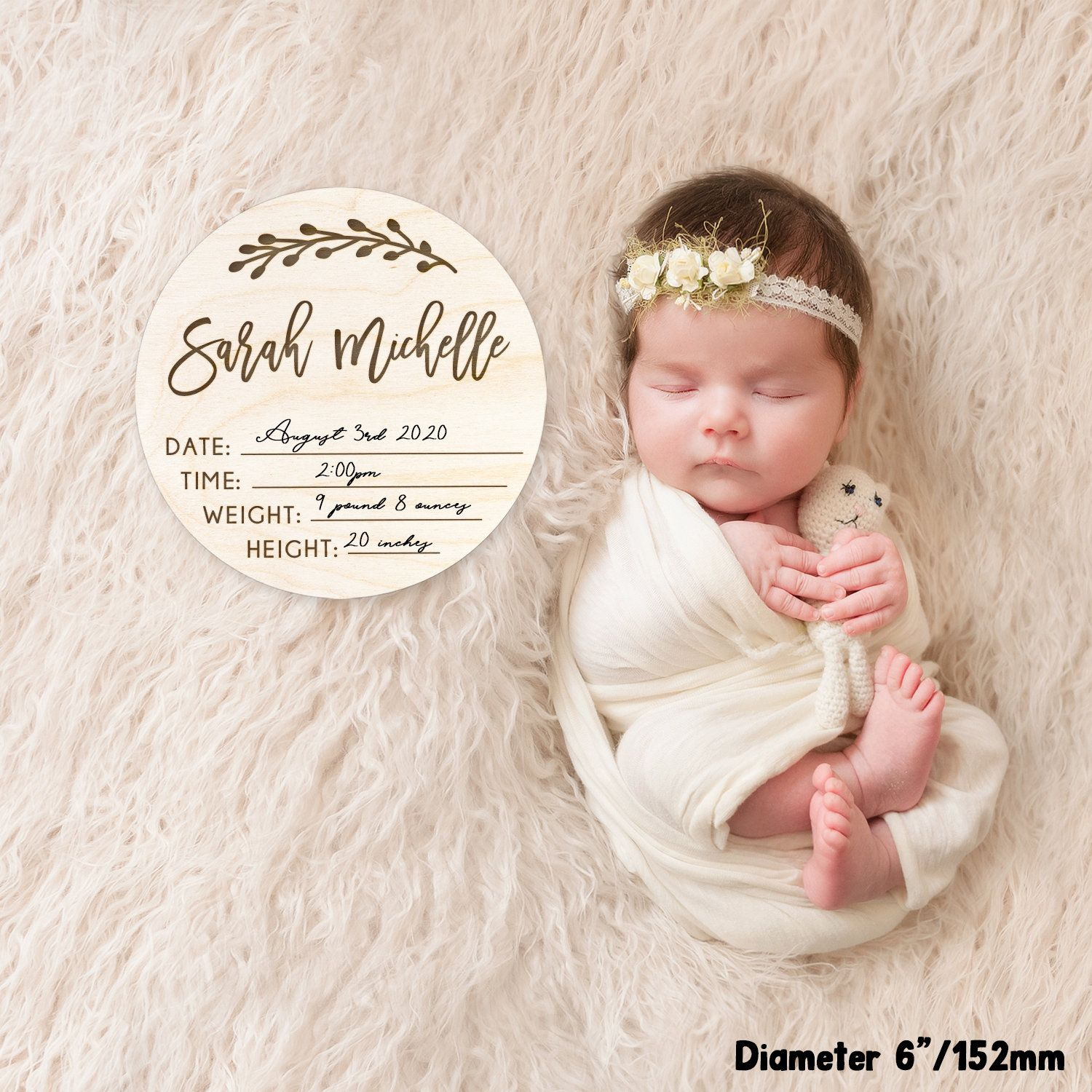 Birth Announcement Sign New Baby Gift Flower Wreath Flower Nursery Decor Newborn Photo Prop Baby Name Sign Engraved Baby Name Plaque