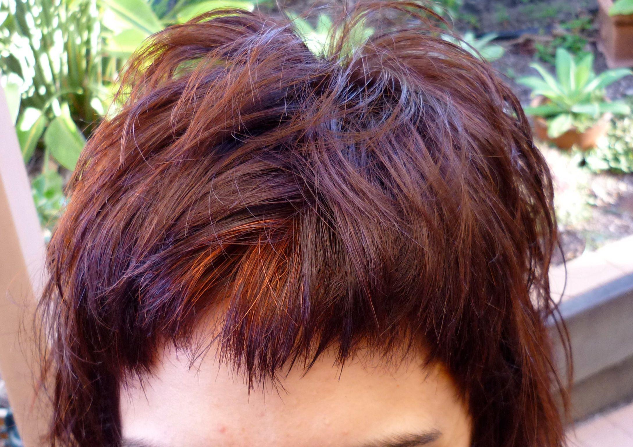 Dark red henna on dark hair with a grey patch natural